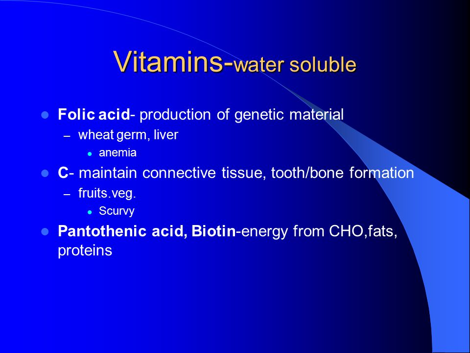 Vitamins- water soluble Thiamin- needed for the release of energy from CHO, fats, proteins – cereal products, pork, peas lack of energy, nerve problem