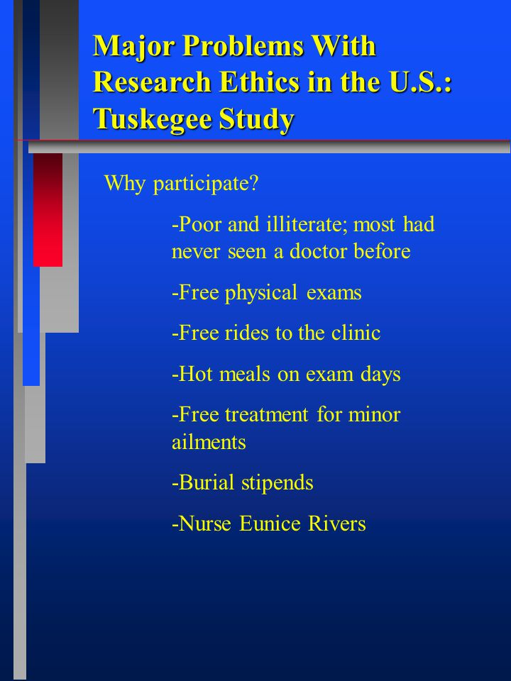 Major Problems With Research Ethics in the U.S.: Tuskegee Study Why participate.