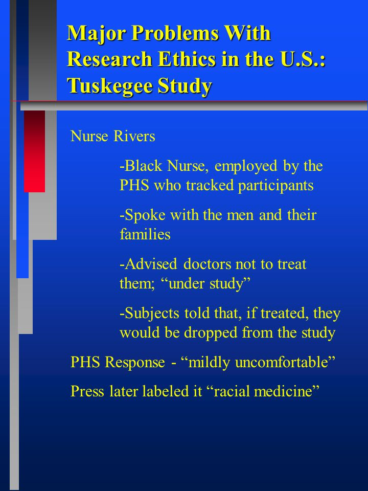 Major Problems With Research Ethics in the U.S.: Tuskegee Study Nurse Rivers -Black Nurse, employed by the PHS who tracked participants -Spoke with the men and their families -Advised doctors not to treat them; under study -Subjects told that, if treated, they would be dropped from the study PHS Response - mildly uncomfortable Press later labeled it racial medicine