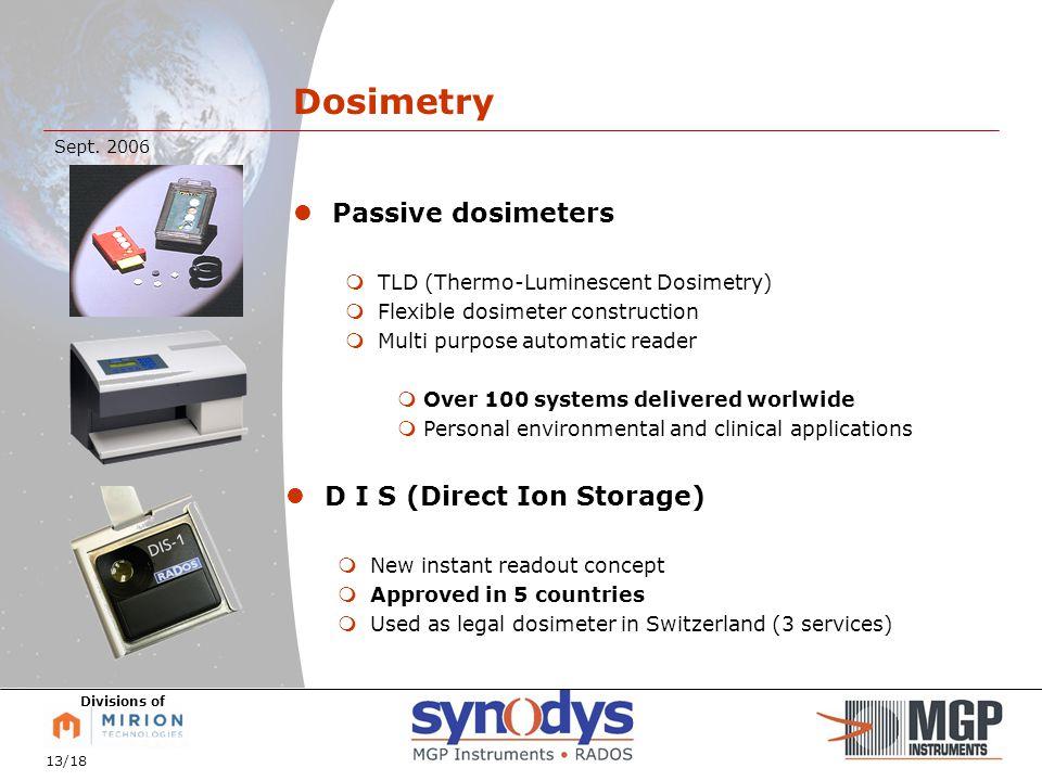 13/18 Sept. 2006 Divisions of Passive dosimeters  TLD (Thermo-Luminescent Dosimetry)  Flexible dosimeter construction  Multi purpose automatic read