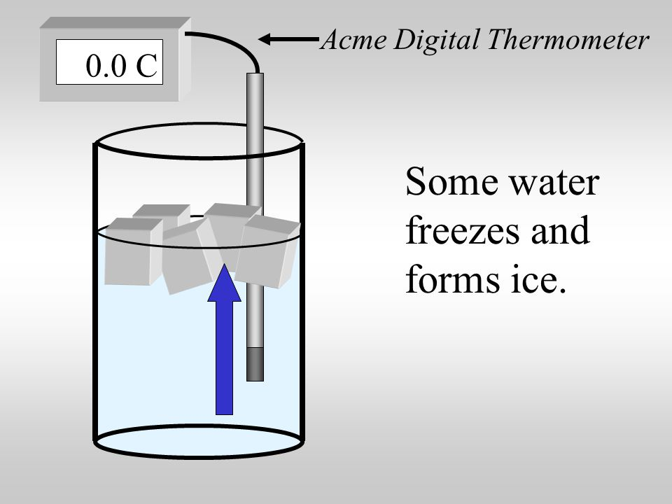Some ice melts and forms liquid water. Acme Digital Thermometer 0.0 C