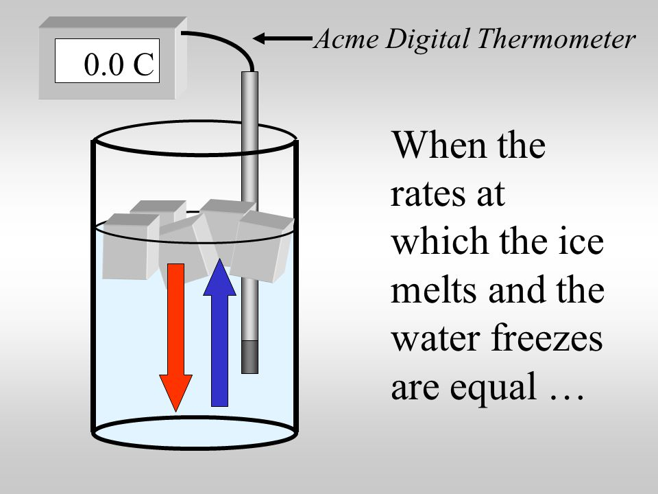 Some water freezes and forms ice. Acme Digital Thermometer 0.0 C