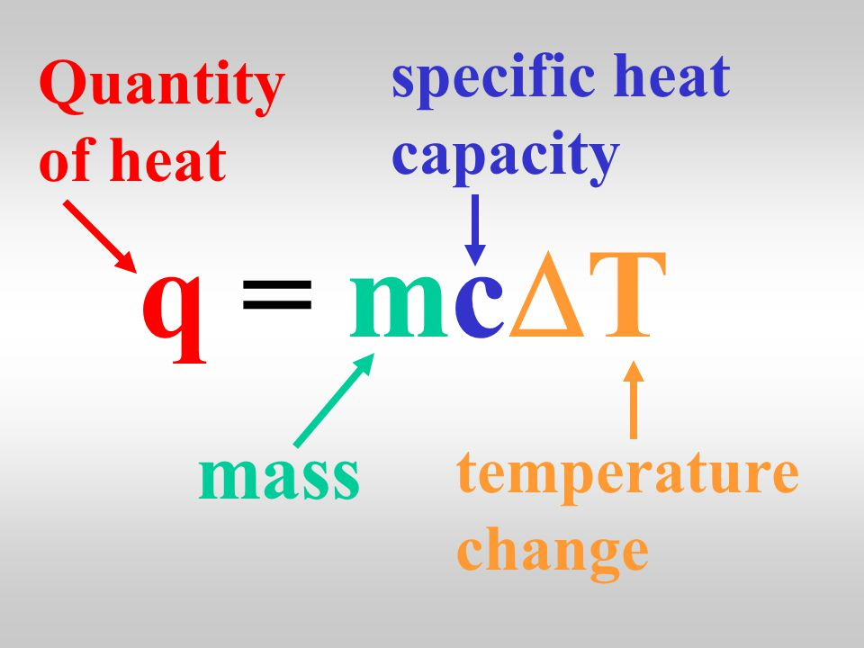 Heat has the symbol q and is calculated using … q = mc  T