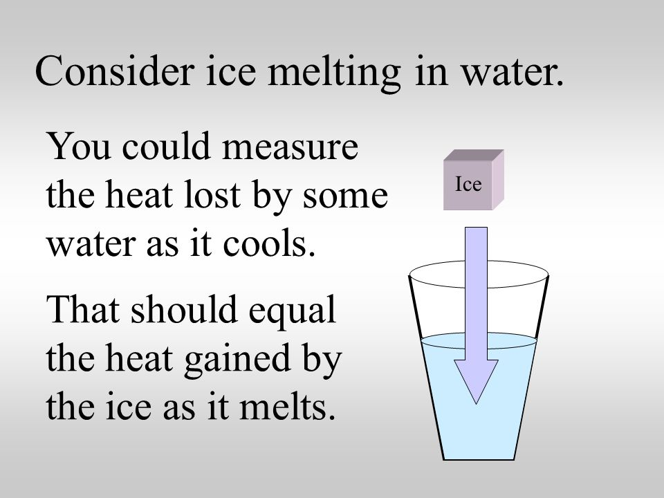 Consider ice melting in water. The word fusion means melting .