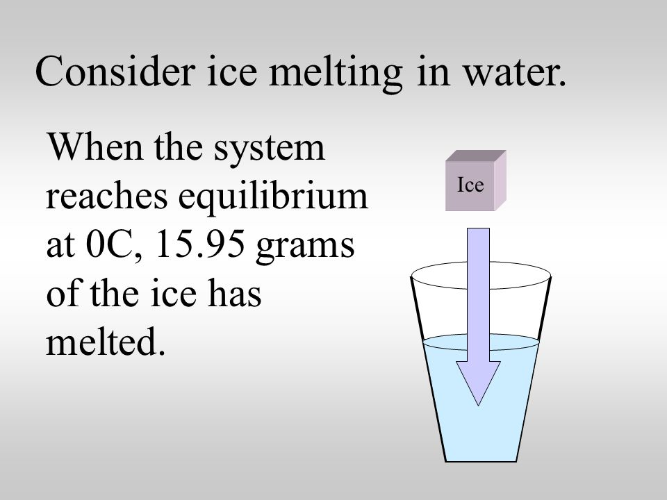 Consider ice melting in water. Suppose some ice at 0C is placed into 50.00 g of water at 25.5 C.