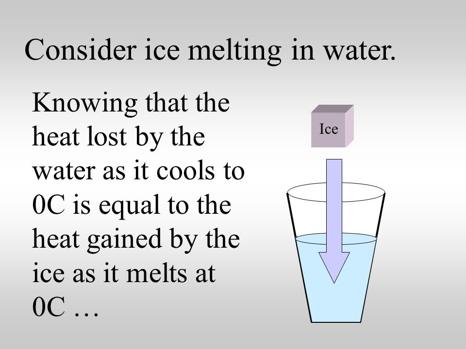 Consider ice melting in water.