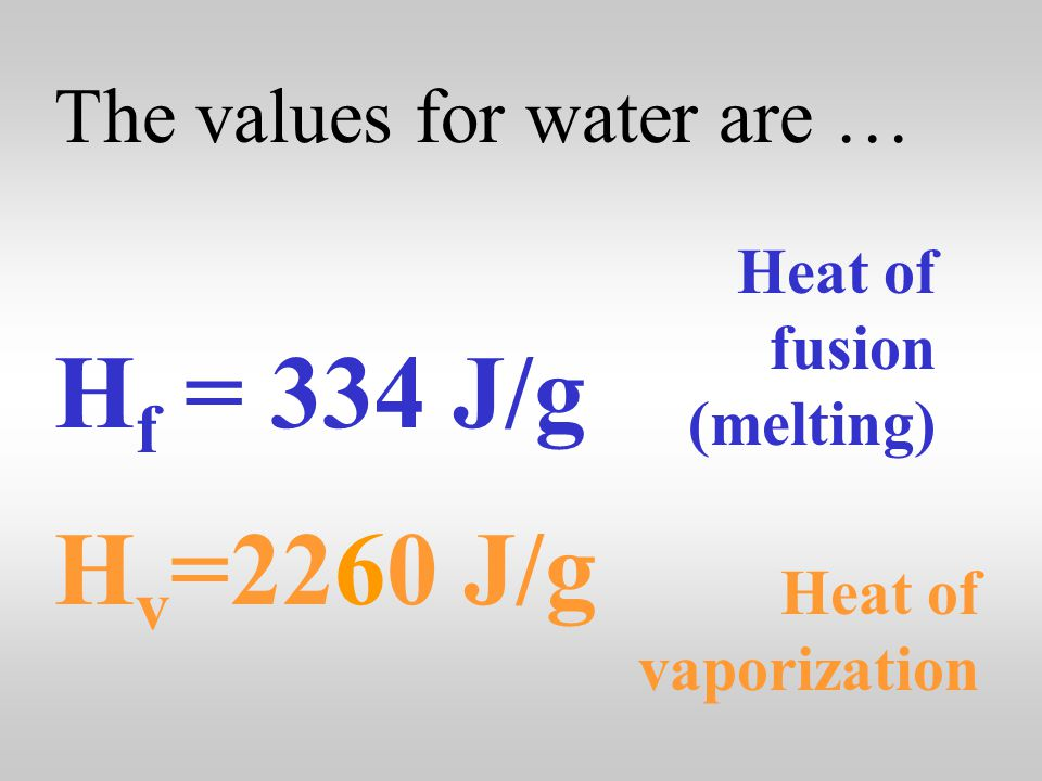 The heat gained or lost in phase changes can be calculated using … q = mH f q = mH v Heat of fusion (melting) Heat of vaporization