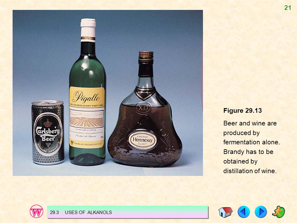 21 Figure 29.13 Beer and wine are produced by fermentation alone. Brandy has to be obtained by distillation of wine. 29.3 USES OF ALKANOLS