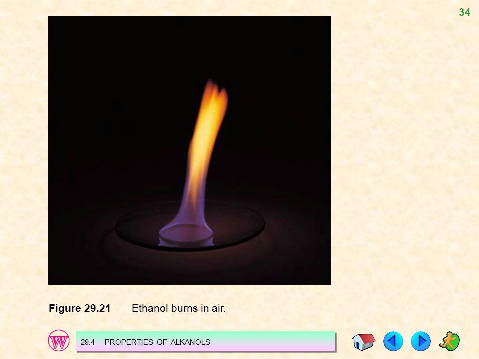 34 Figure 29.21 Ethanol burns in air. 29.4 PROPERTIES OF ALKANOLS