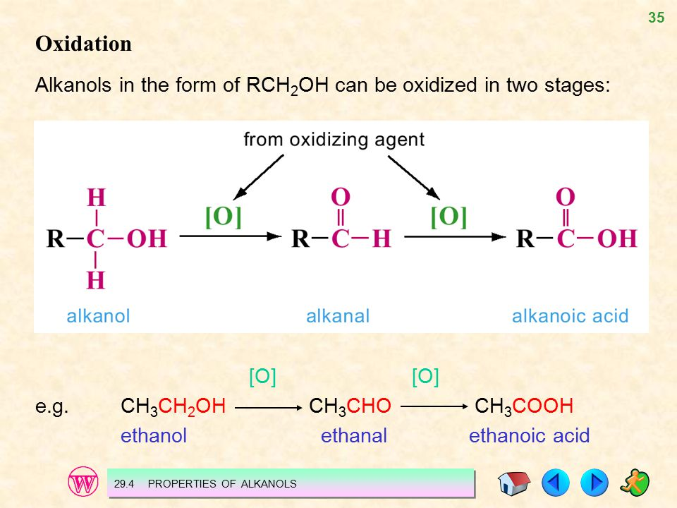 35 Oxidation Alkanols in the form of RCH 2 OH can be oxidized in two stages: [O] e.g.CH 3 CH 2 OH CH 3 CHO CH 3 COOH ethanol ethanal ethanoic acid 29.4 PROPERTIES OF ALKANOLS
