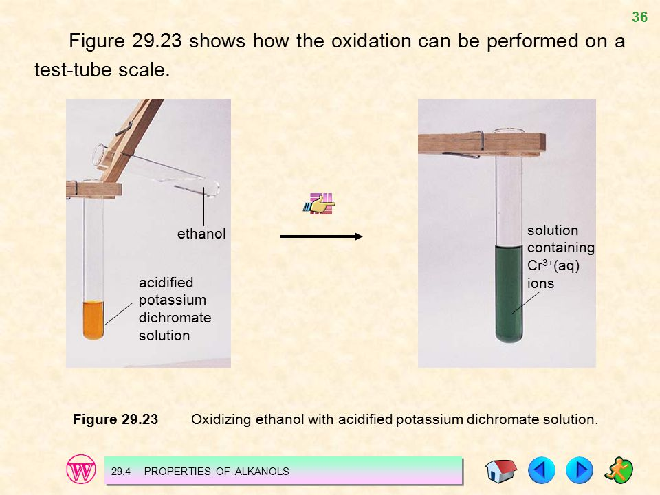 36 Figure 29.23 shows how the oxidation can be performed on a test-tube scale. ethanol acidified potassium dichromate solution solution containing Cr