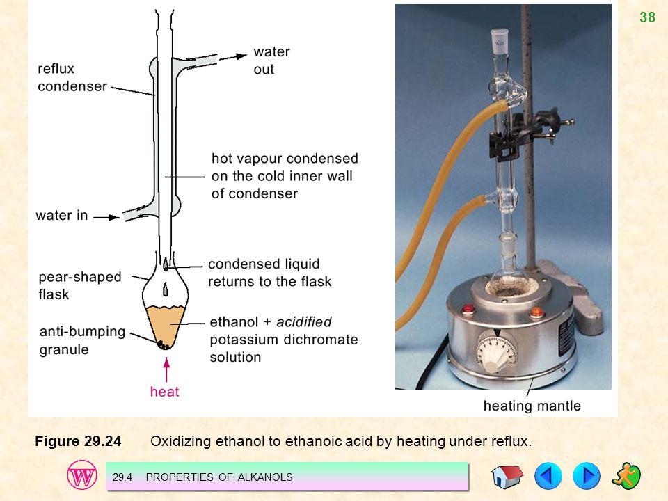 38 Figure 29.24 Oxidizing ethanol to ethanoic acid by heating under reflux.
