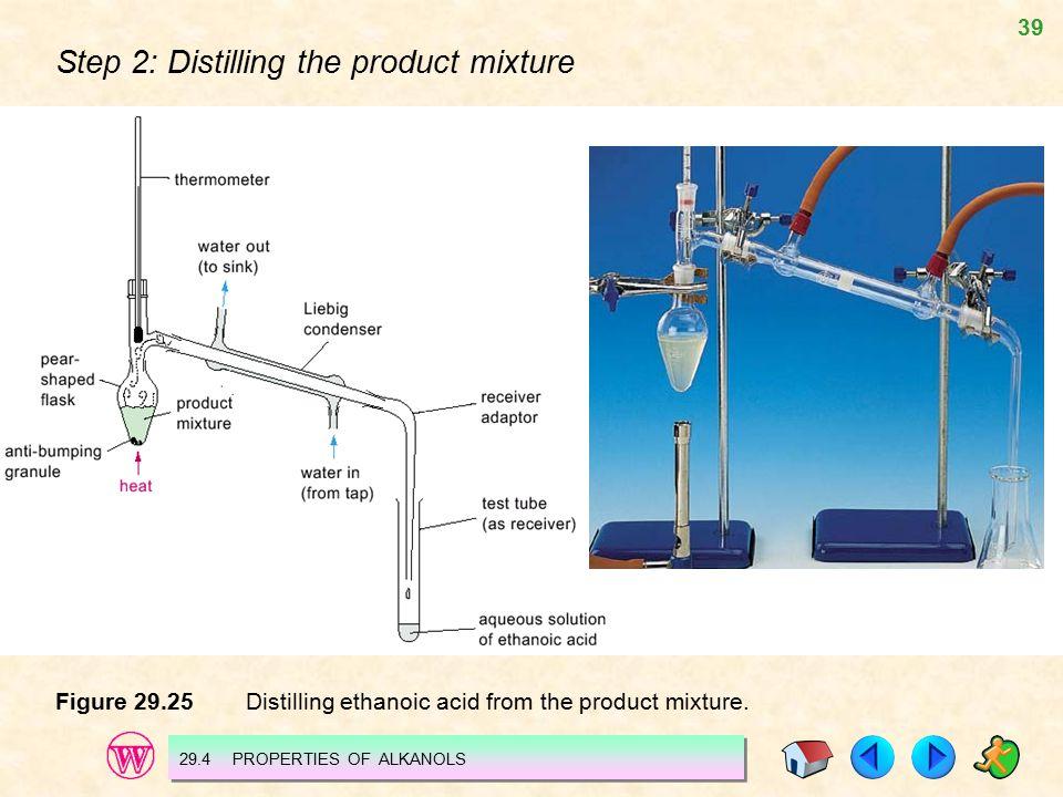 39 Step 2: Distilling the product mixture Figure 29.25 Distilling ethanoic acid from the product mixture. 29.4 PROPERTIES OF ALKANOLS