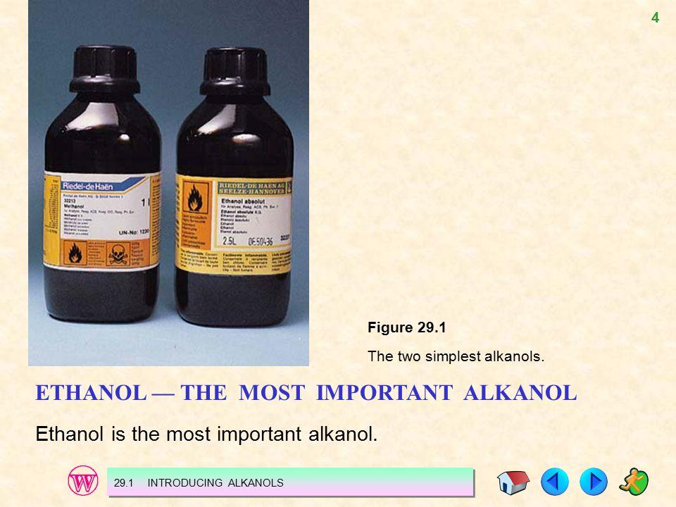 4 Figure 29.1 The two simplest alkanols. ETHANOL — THE MOST IMPORTANT ALKANOL Ethanol is the most important alkanol. 29.1 INTRODUCING ALKANOLS