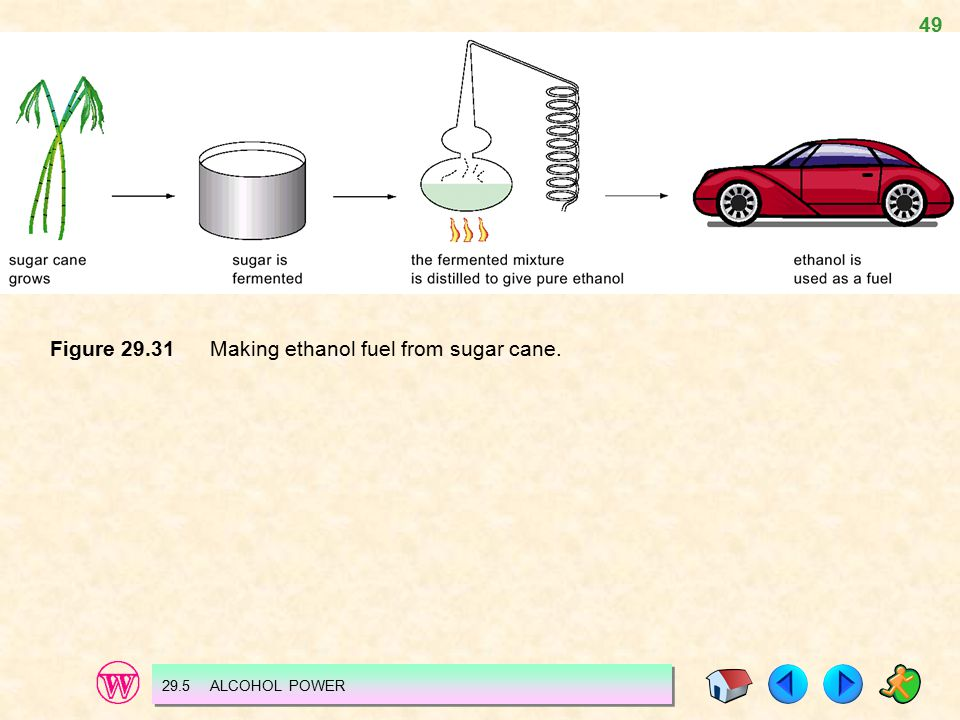 49 Figure 29.31 Making ethanol fuel from sugar cane. 29.5 ALCOHOL POWER