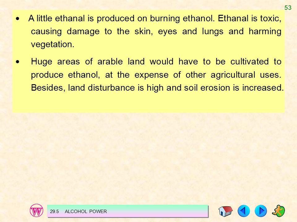 53  A little ethanal is produced on burning ethanol.