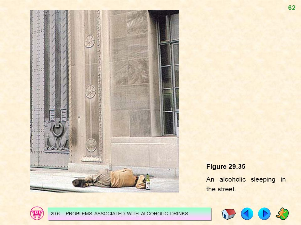 62 Figure 29.35 An alcoholic sleeping in the street. 29.6 PROBLEMS ASSOCIATED WITH ALCOHOLIC DRINKS