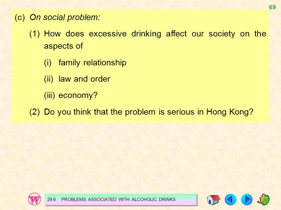 69 (c)On social problem: (1)How does excessive drinking affect our society on the aspects of (i)family relationship (ii)law and order (iii)economy.