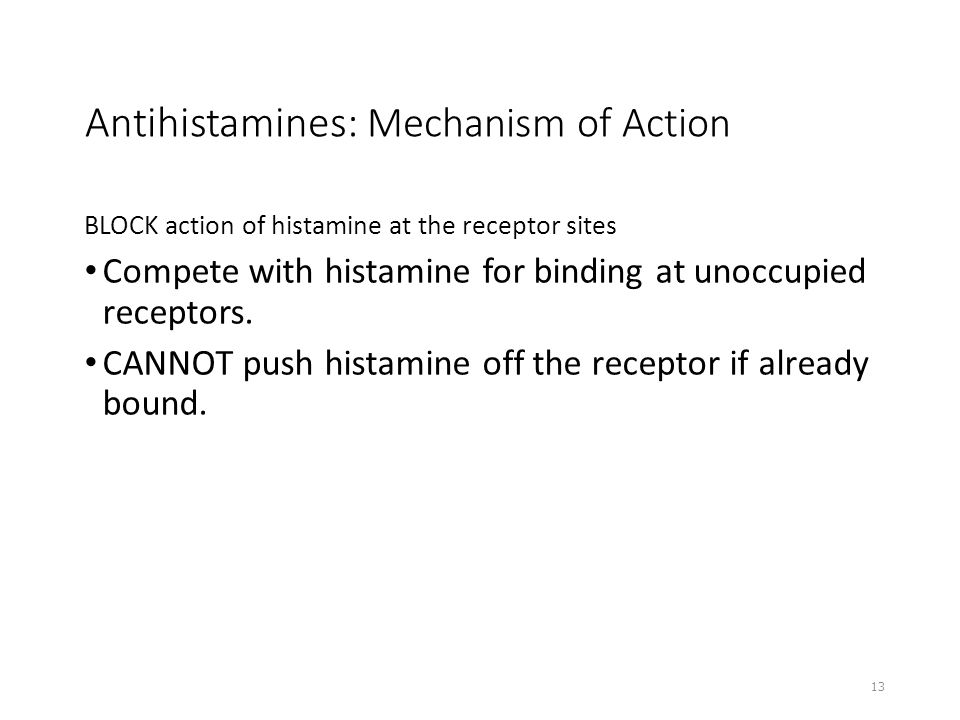 Antihistamines: Mechanism of Action BLOCK action of histamine at the receptor sites Compete with histamine for binding at unoccupied receptors. CANNOT