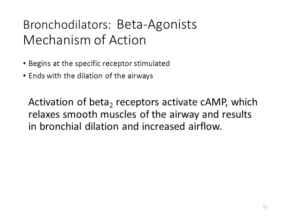 Bronchodilators: Beta-Agonists Mechanism of Action Begins at the specific receptor stimulated Ends with the dilation of the airways Activation of beta