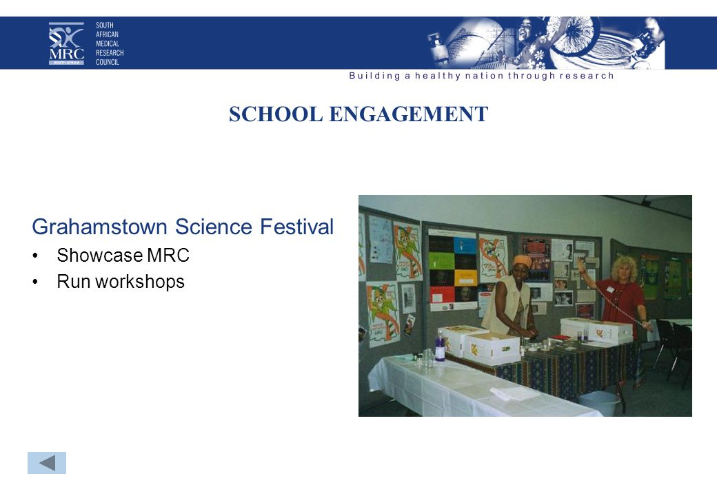 SCHOOL ENGAGEMENT Grahamstown Science Festival Showcase MRC Run workshops