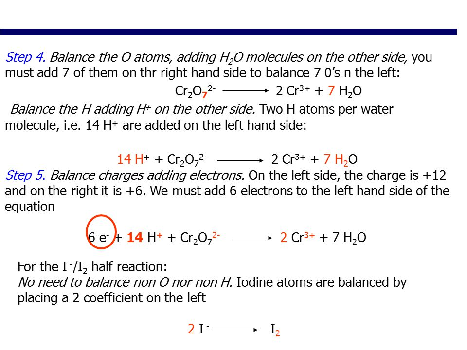 Balance charges adding electrons.