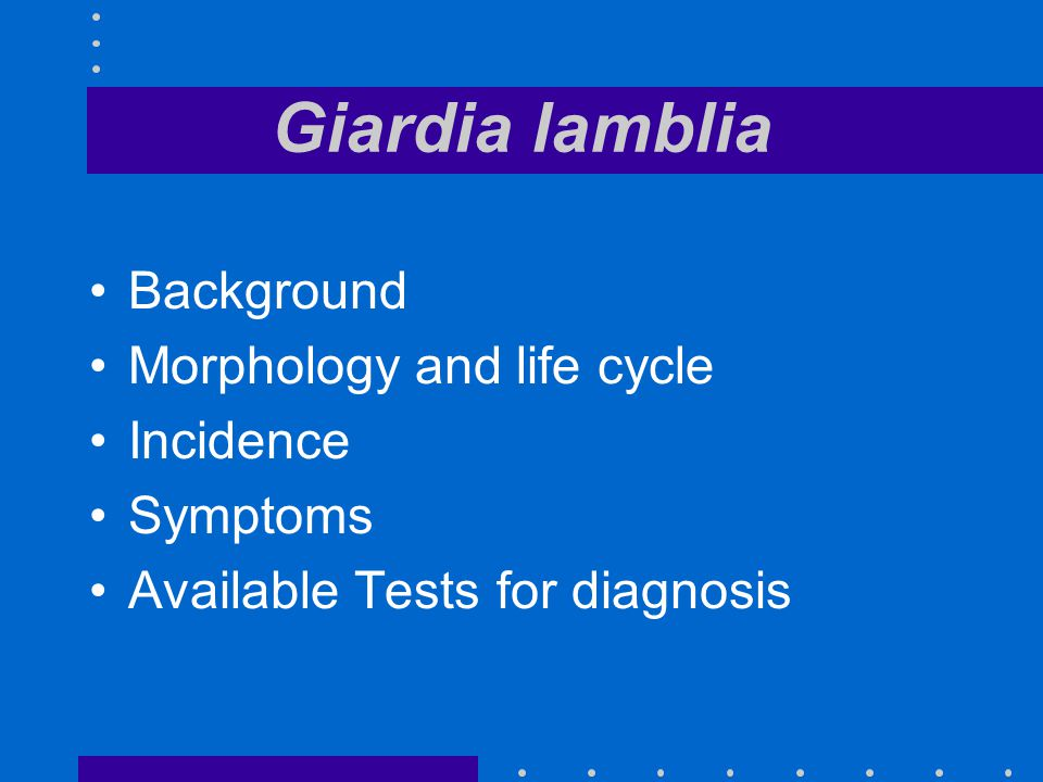 Giardia lamblia Background Morphology and life cycle Incidence Symptoms Available Tests for diagnosis