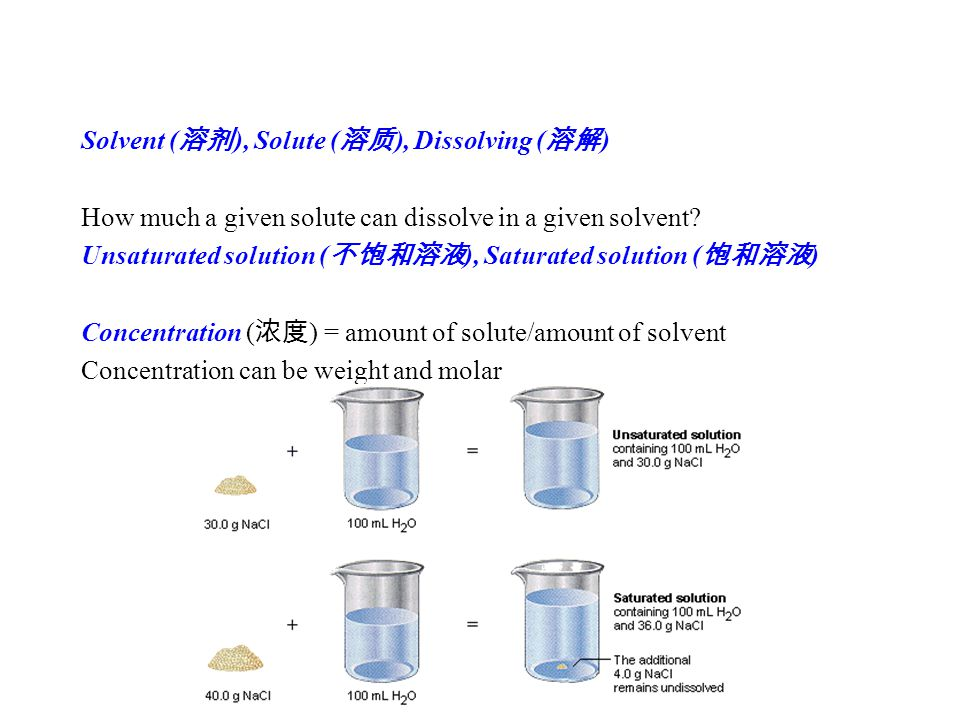 Solvent ( 溶剂 ), Solute ( 溶质 ), Dissolving ( 溶解 ) How much a given solute can dissolve in a given solvent.