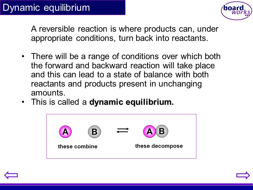 A reversible reaction is where products can, under appropriate conditions, turn back into reactants. There will be a range of conditions over which bo