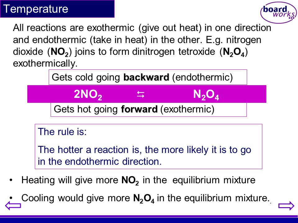 Temperature All reactions are exothermic (give out heat) in one direction and endothermic (take in heat) in the other. E.g. nitrogen dioxide (NO 2 ) j