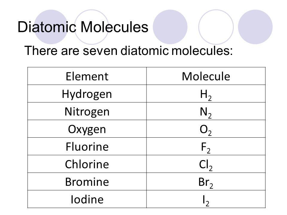 Diatomic Molecules There are seven diatomic molecules: ElementMolecule HydrogenH2H2 NitrogenN2N2 OxygenO2O2 FluorineF2F2 ChlorineCl 2 BromineBr 2 IodineI2I2