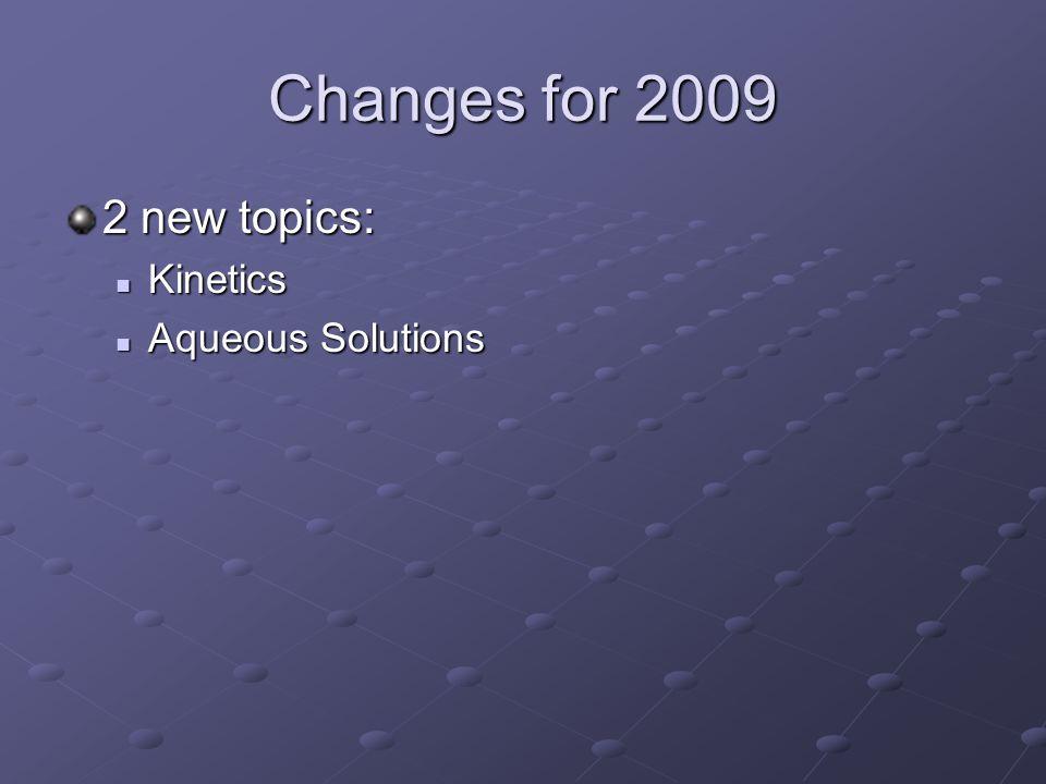Changes for 2009 2 new topics: Kinetics Kinetics Aqueous Solutions Aqueous Solutions