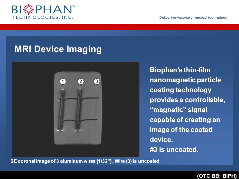 """(OTC BB: BIPH) SE coronal image of 3 aluminum wires (1/32""""). Wire (3) is uncoated. 123 Biophan's thin-film nanomagnetic particle coating technology pr"""