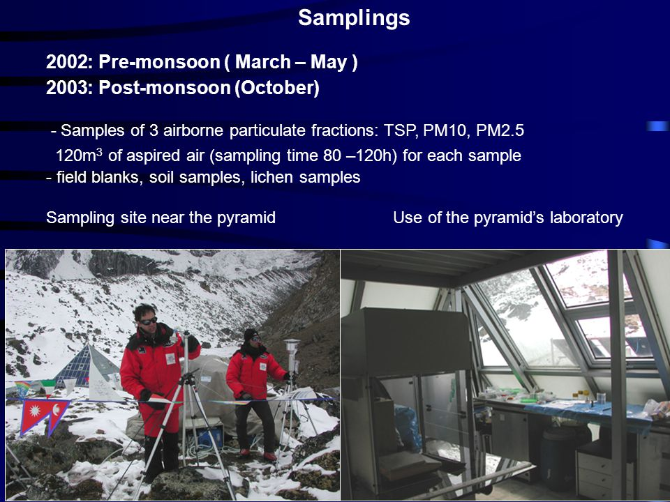 Samplings 2002: Pre-monsoon ( March – May ) 2003: Post-monsoon (October) - Samples of 3 airborne particulate fractions: TSP, PM10, PM2.5 120m 3 of asp