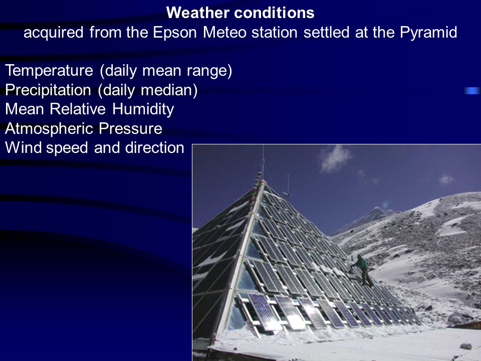 Weather conditions acquired from the Epson Meteo station settled at the Pyramid Temperature (daily mean range) Precipitation (daily median) Mean Relative Humidity Atmospheric Pressure Wind speed and direction