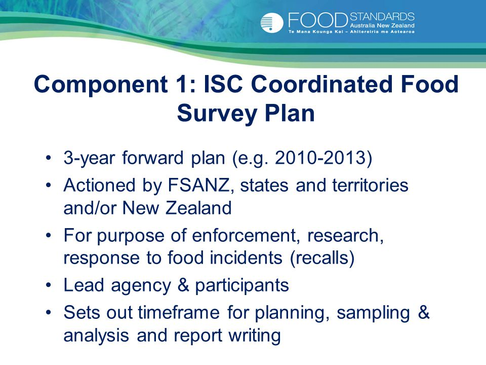 Component 1: ISC Coordinated Food Survey Plan 3-year forward plan (e.g. 2010-2013) Actioned by FSANZ, states and territories and/or New Zealand For pu