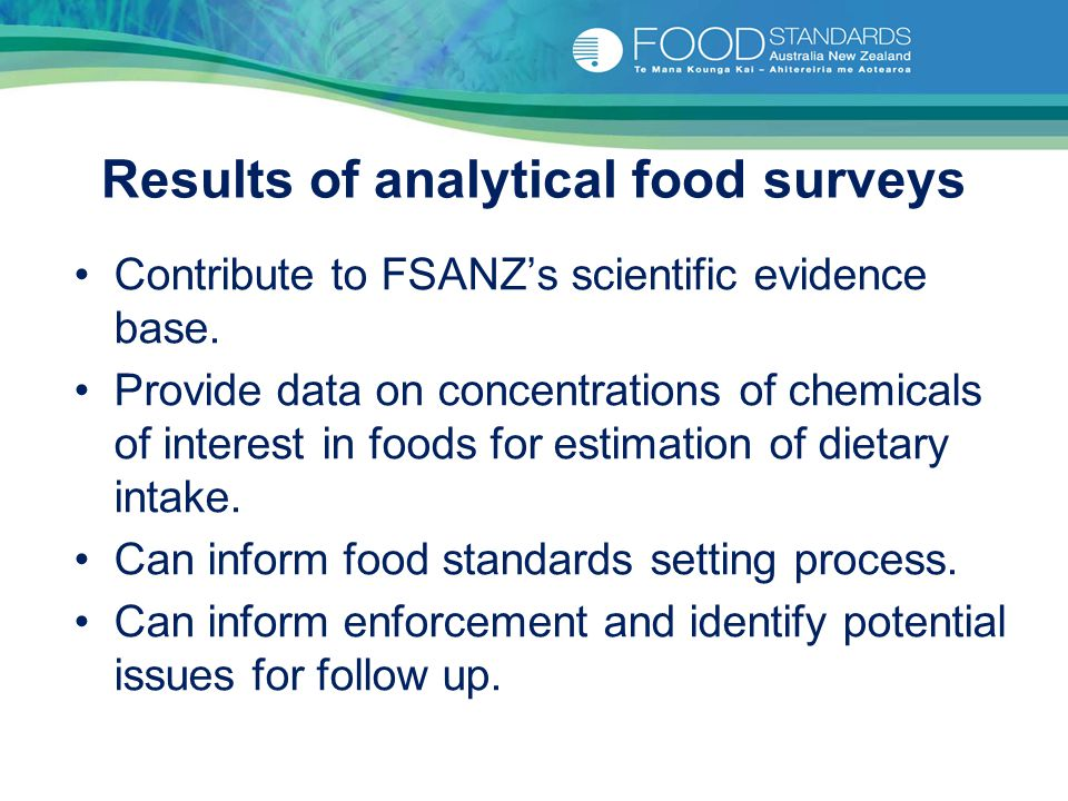 Results of analytical food surveys Contribute to FSANZ's scientific evidence base.