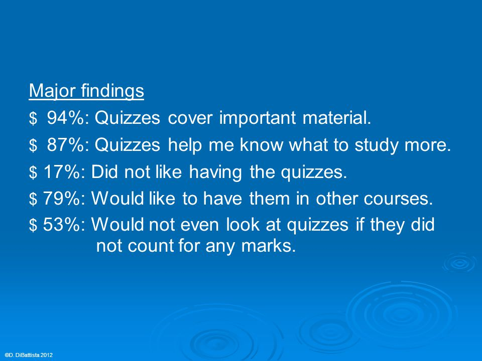 Major findings $ 94%: Quizzes cover important material.
