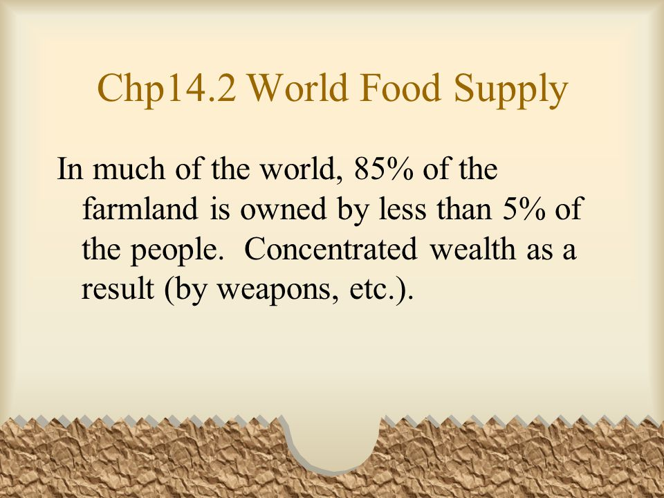 Chp14.2 World Food Supply In much of the world, 85% of the farmland is owned by less than 5% of the people.