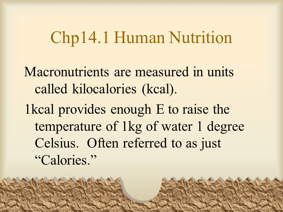 Chp14.1 Human Nutrition Macronutrients are measured in units called kilocalories (kcal).