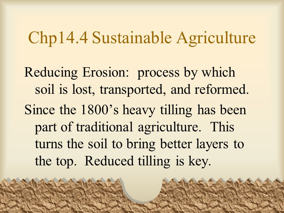 Chp14.4 Sustainable Agriculture Reducing Erosion: process by which soil is lost, transported, and reformed.