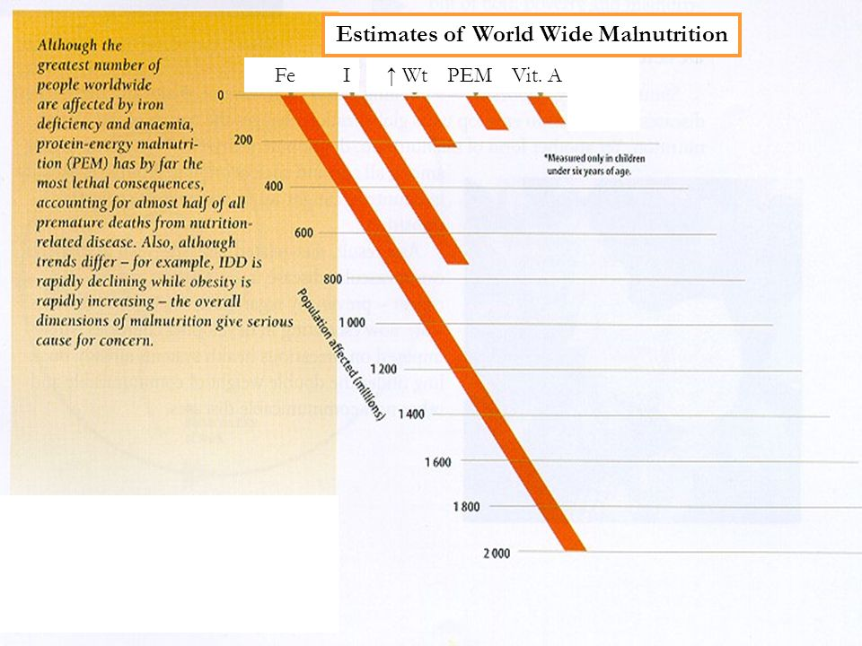 Fe I ↑ WtPEMVit. A Estimates of World Wide Malnutrition