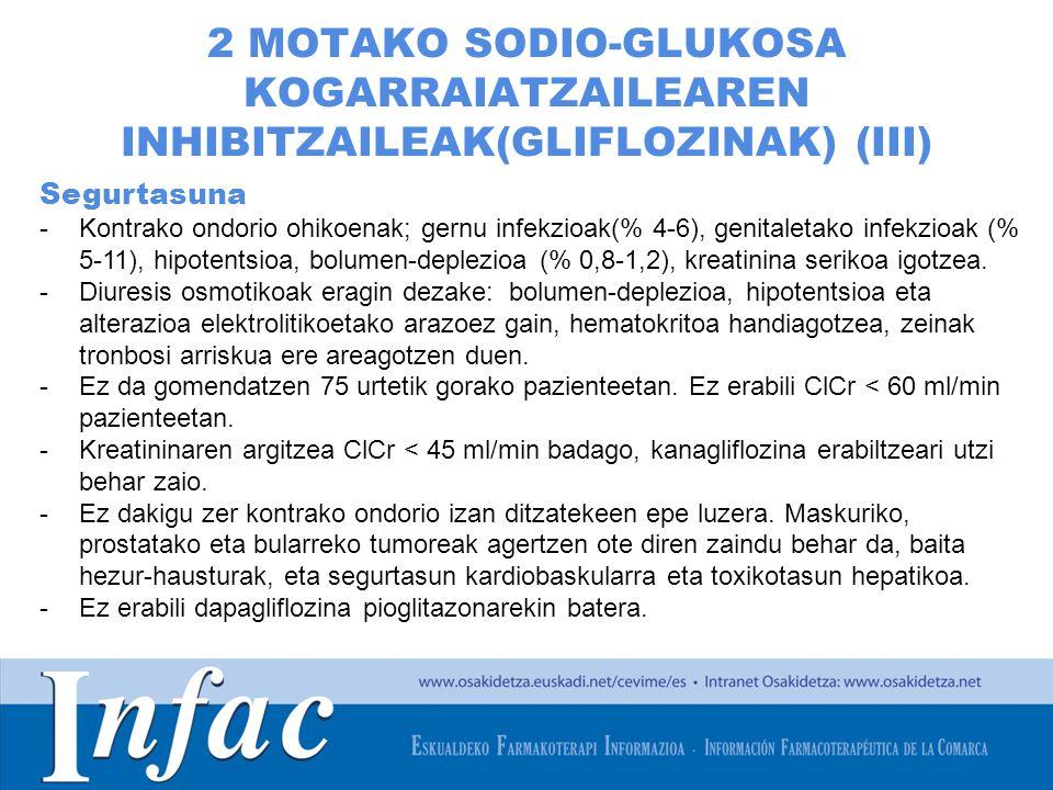 http://www.osakidetza.euskadi.net 2 MOTAKO SODIO-GLUKOSA KOGARRAIATZAILEAREN INHIBITZAILEAK(GLIFLOZINAK) (III) Segurtasuna -Kontrako ondorio ohikoenak; gernu infekzioak(% 4-6), genitaletako infekzioak (% 5-11), hipotentsioa, bolumen-deplezioa (% 0,8-1,2), kreatinina serikoa igotzea.