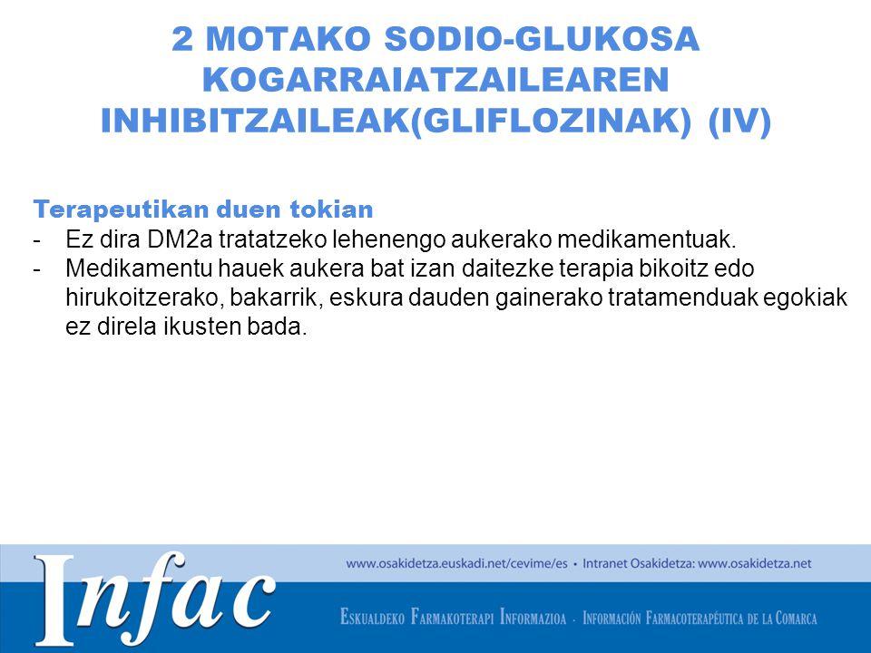 http://www.osakidetza.euskadi.net 2 MOTAKO SODIO-GLUKOSA KOGARRAIATZAILEAREN INHIBITZAILEAK(GLIFLOZINAK) (IV) Terapeutikan duen tokian -Ez dira DM2a tratatzeko lehenengo aukerako medikamentuak.