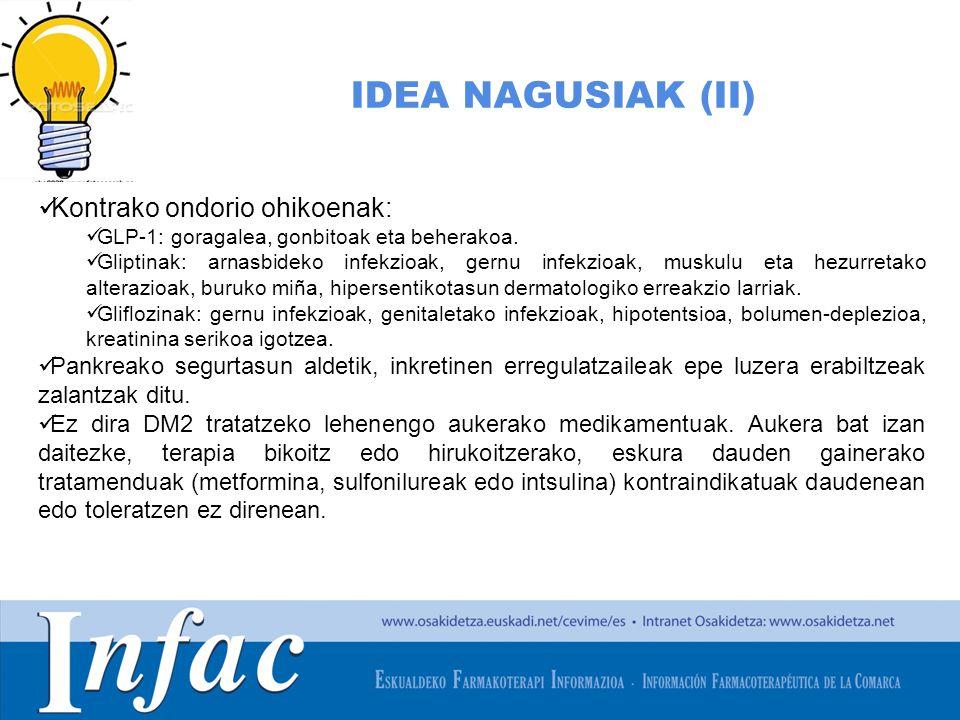 IDEA NAGUSIAK (II) Kontrako ondorio ohikoenak: GLP-1: goragalea, gonbitoak eta beherakoa.