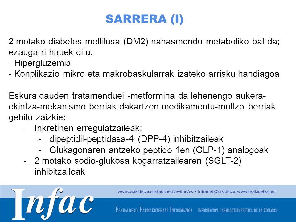 http://www.osakidetza.euskadi.net SARRERA (I) 2 motako diabetes mellitusa (DM2) nahasmendu metaboliko bat da; ezaugarri hauek ditu: - Hipergluzemia - Konplikazio mikro eta makrobaskularrak izateko arrisku handiagoa Eskura dauden tratamenduei -metformina da lehenengo aukera- ekintza-mekanismo berriak dakartzen medikamentu-multzo berriak gehitu zaizkie: -Inkretinen erregulatzaileak: -dipeptidil-peptidasa-4 (DPP-4) inhibitzaileak -Glukagonaren antzeko peptido 1en (GLP-1) analogoak -2 motako sodio-glukosa kogarratzailearen (SGLT-2) inhibitzaileak