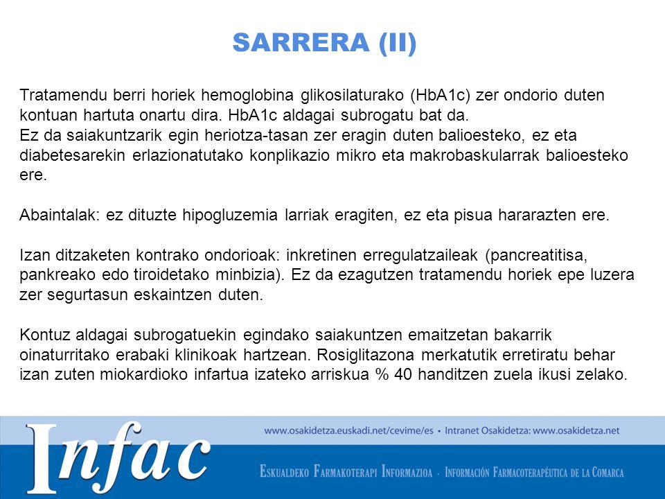 http://www.osakidetza.euskadi.net SARRERA (II) Tratamendu berri horiek hemoglobina glikosilaturako (HbA1c) zer ondorio duten kontuan hartuta onartu dira.