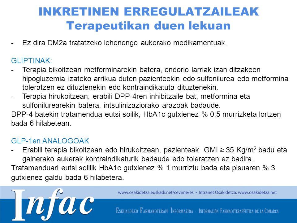 http://www.osakidetza.euskadi.net INKRETINEN ERREGULATZAILEAK Terapeutikan duen lekuan -Ez dira DM2a tratatzeko lehenengo aukerako medikamentuak.