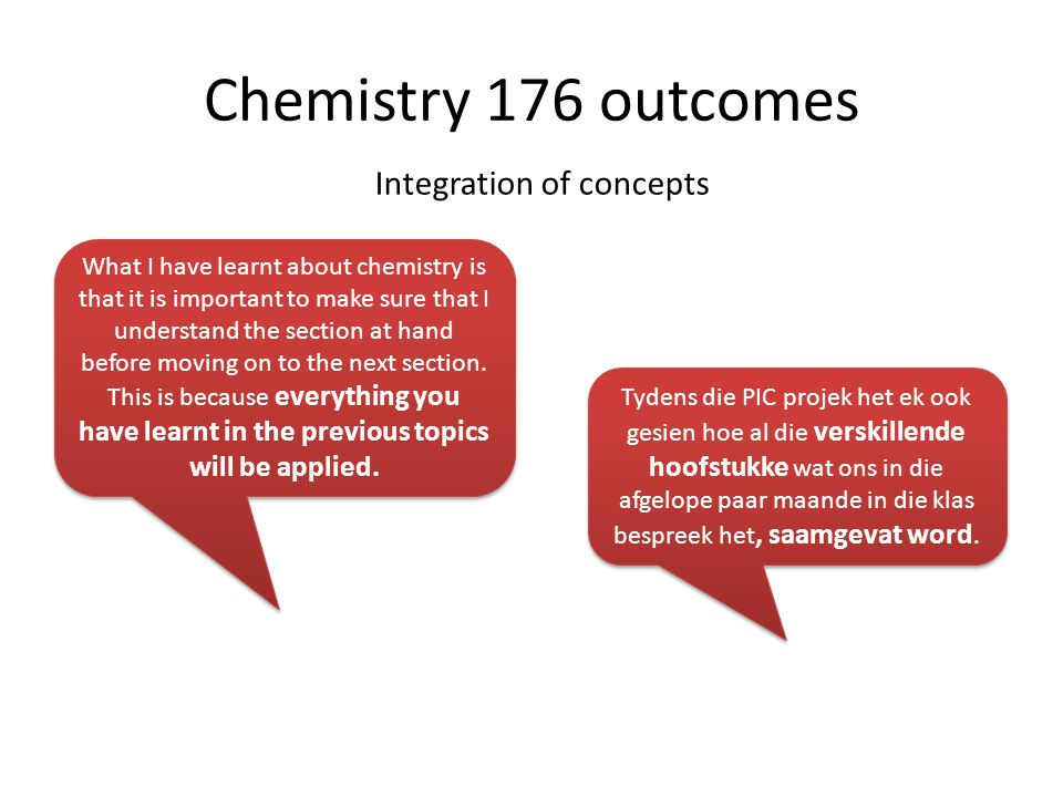 Active learning Chemistry 176 outcomes I learnt to work on many problems in chemistry that I could not solve before because I had no choice but to work on them on my own.