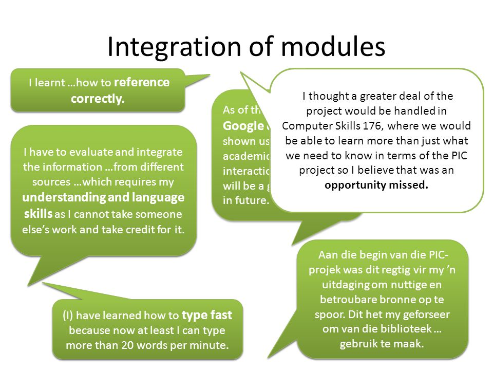 Integration of modules I learnt …how to reference correctly.